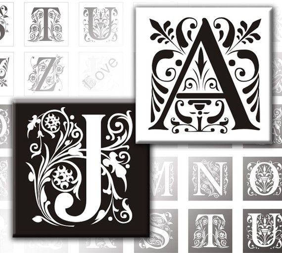 Vintage Ornate Initials Black and white Alphabet Letters digital collage sheet 1x1 inches (099) Buy 3 - get 1 bonus