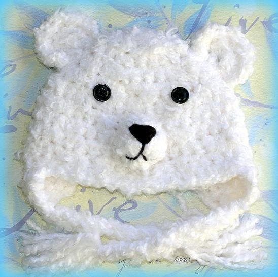 0 m.o. to 12 m.o.Bear baby hat, Polar Bear hat, winter bear, Baby ...