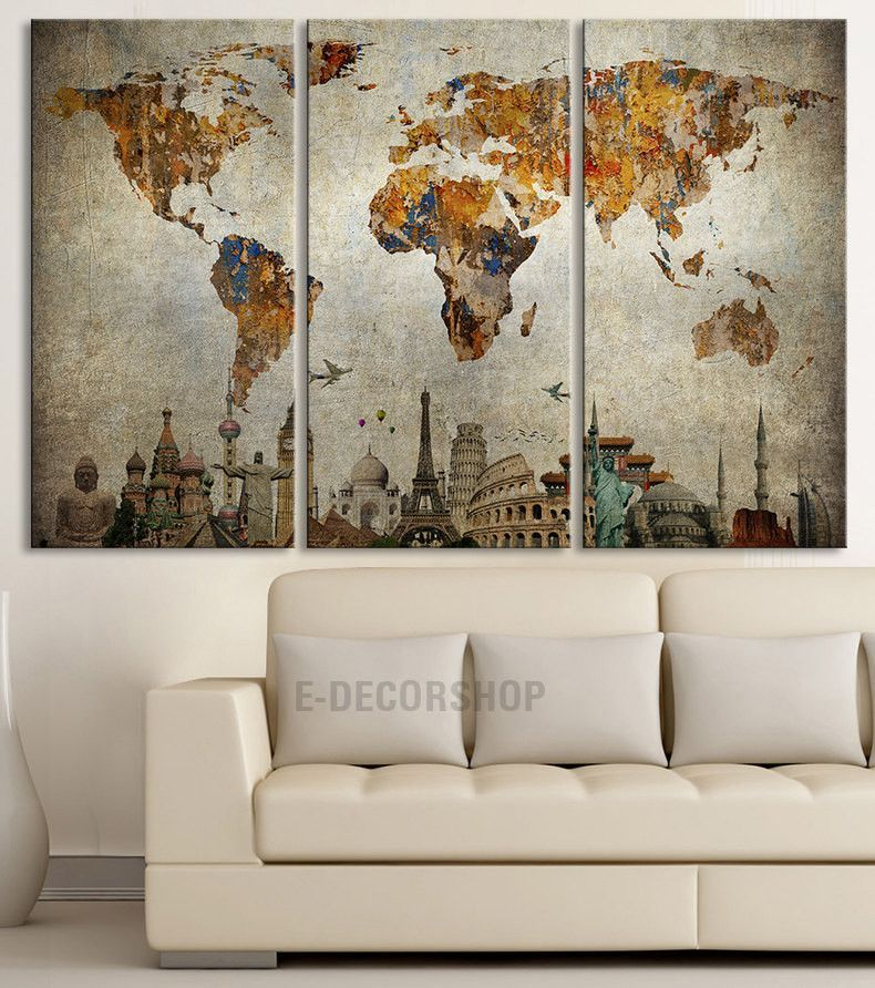 Canvas print world map and wonders of the world on old paper map canvas print world map and wonders of the world on old paper map canvas painting gumiabroncs Gallery