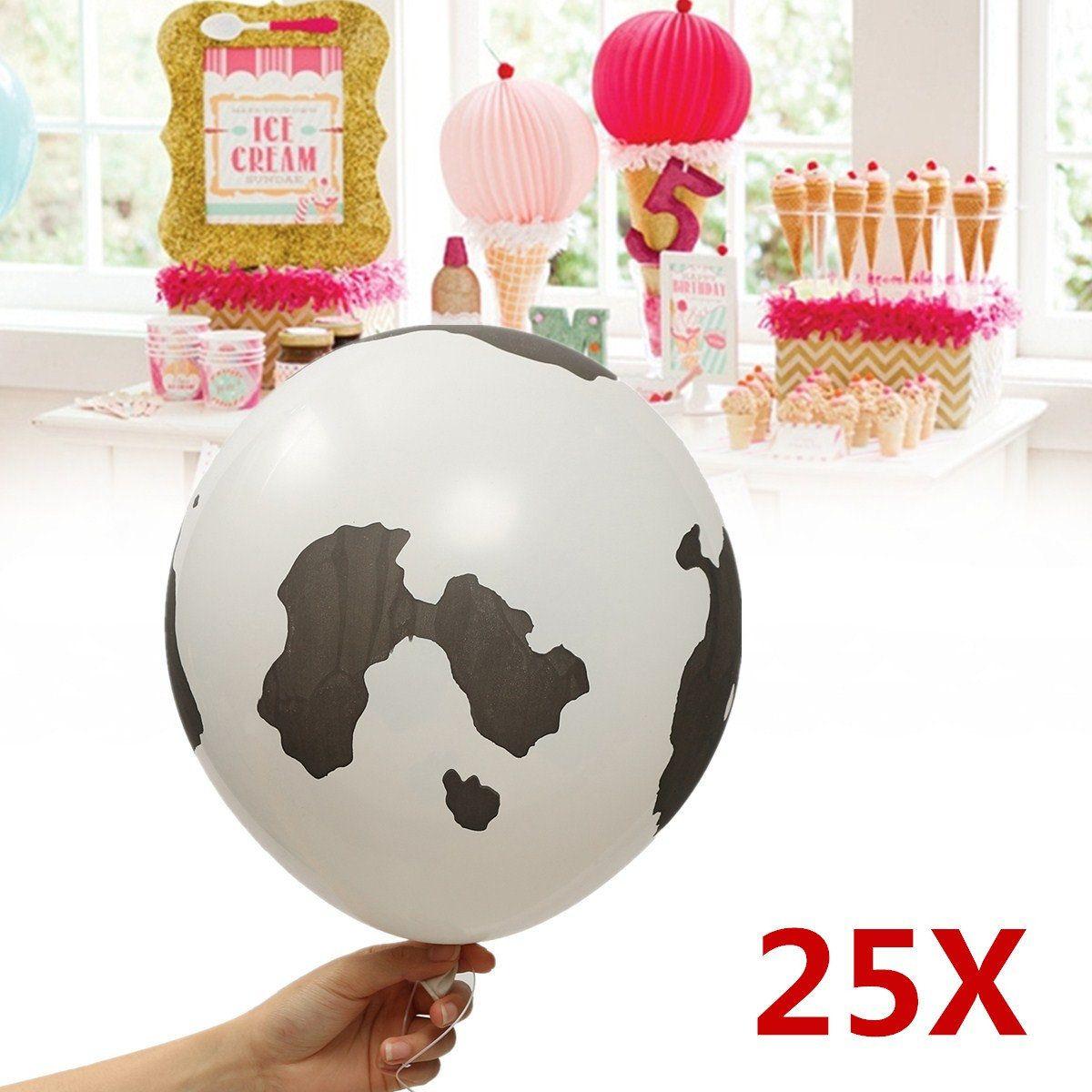 25Pcs Black & White Animal Cow Print Latex Balloons Birthday Party ...