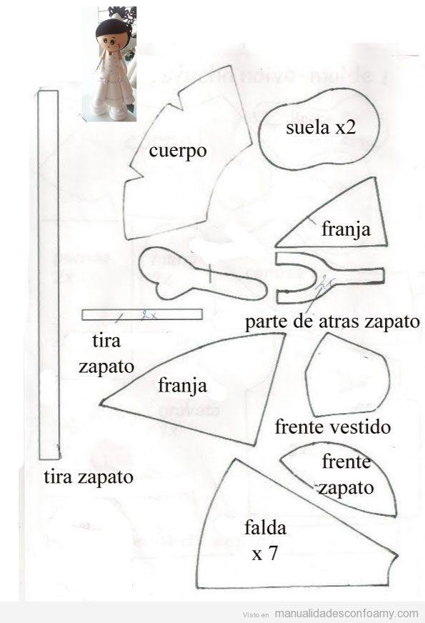 molde o plantilla muñeca fofucha novia | fofuchas | things to sell