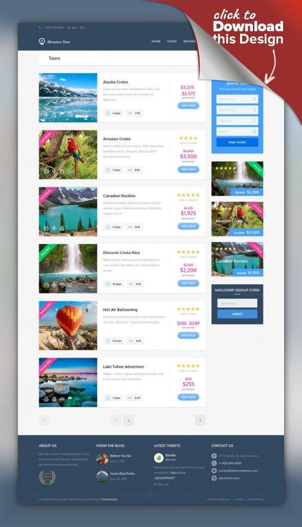 Adventure Tours - WordPress Tour/Travel Theme | Adventure tours ...