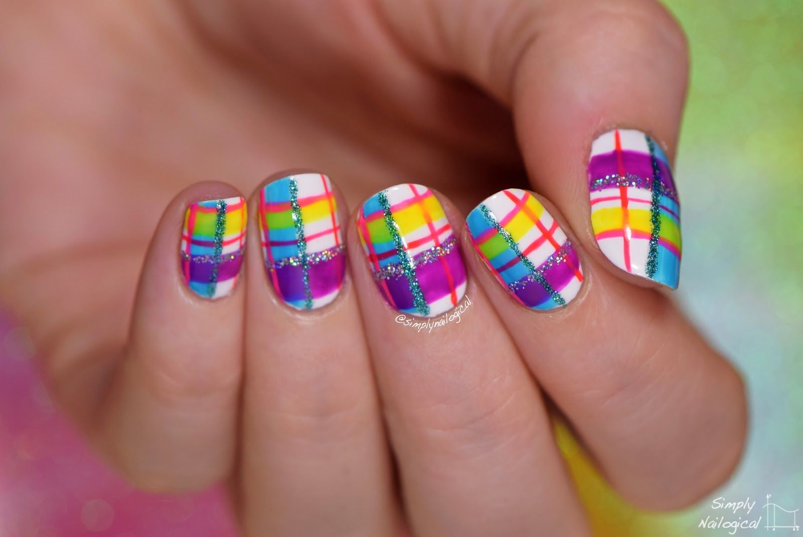 Neon plaid re-creation mani by simplynailogical | Nail art | Pinterest