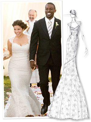 America Ferrera S Custom Wedding Gown Wedding Dress Gallery