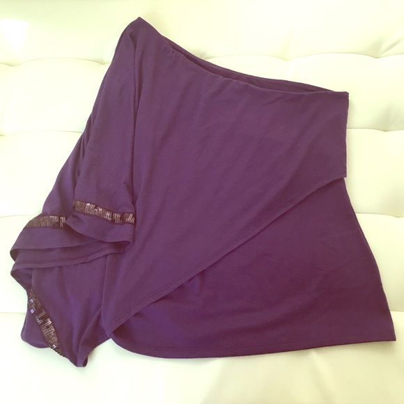 2HR SALE  Purple OneShoulder Drape Accentuated with sequence strip on the drape.  Charlotte Russe Tops Blouses