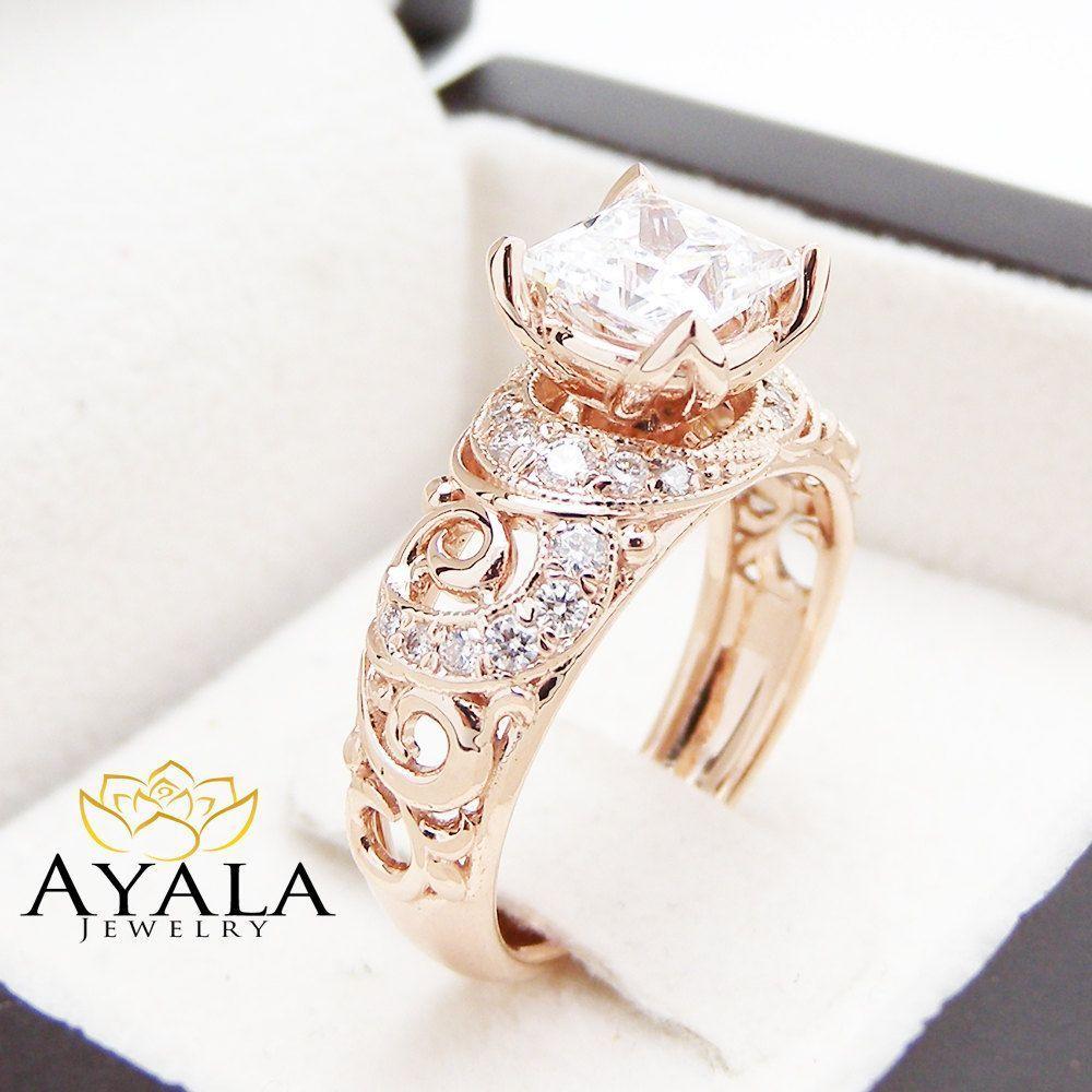 Princess cut engagment ring moissanite engagement ring k rose gold