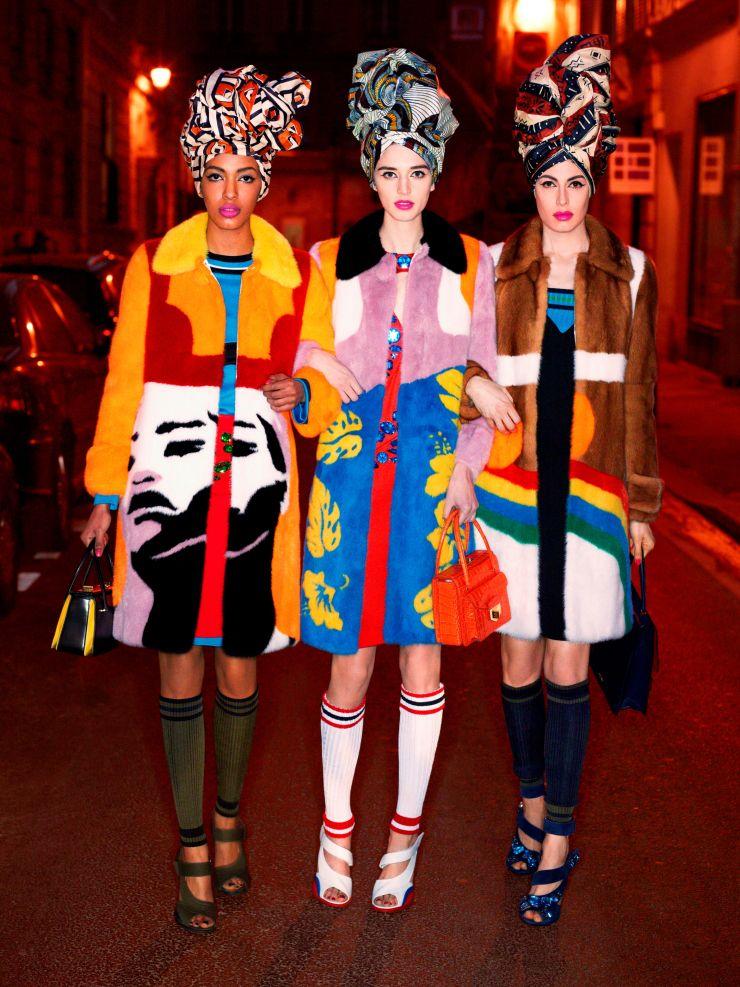 "Alewya Demmisse, Kate Goodling & Sabrina Ioffreda in ""Carine's Edit"" by Karl Lagerfeld for Harper's Bazaar UK March 2014"