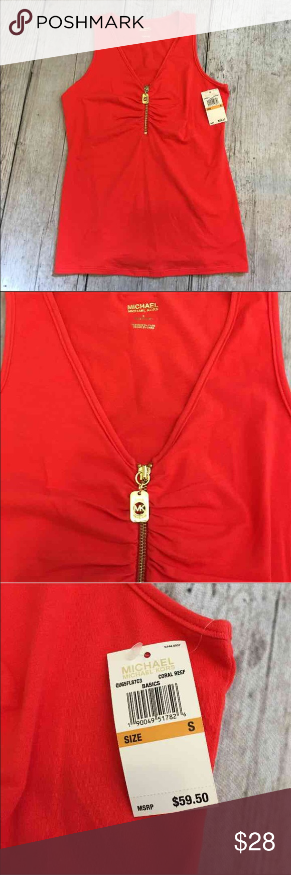 💓Michael Kors tank Coral colored Michael Kors top with gold zipper. Zipper pull has MK cut out design and the back has gold colored Michael Kors name plate . Retails at $59 Michael Kors Tops Tank Tops