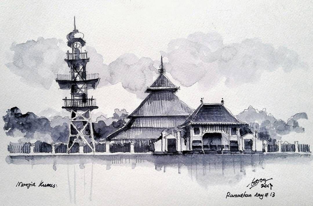 Mewarnai Sketsa Gambar Masjid Ramadhan Terbaru