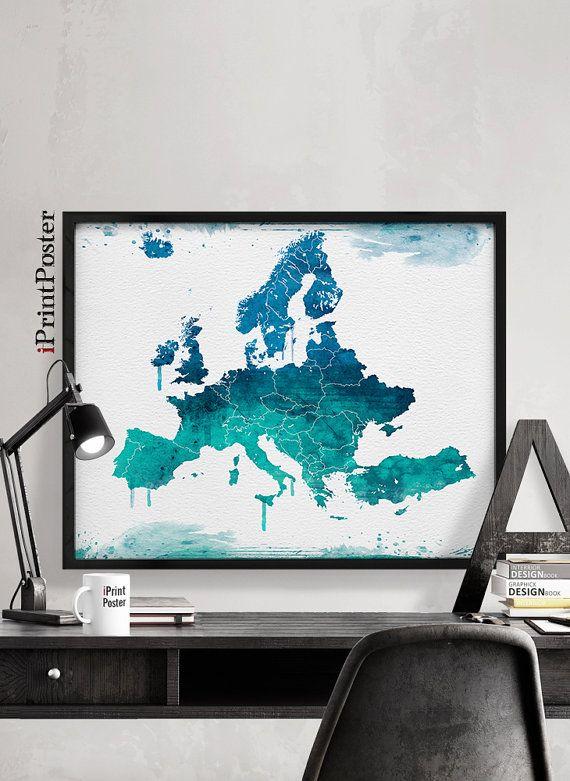 Europe Map, Art, Print, Watercolor, Europe Watercolor, Poster, Art,  Watercolour, World Map Art, Artwork, Wall Art, Home Decor, IPrintPoster |  Reisebüro, ...