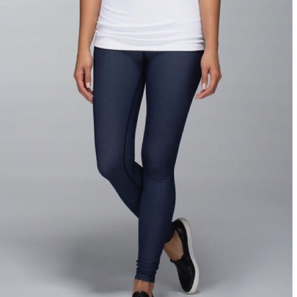 10ef0ea3212afc Navy denim lululemon leggings These leggings are so cute! Navy blue color,  tight fit and denim-like fabric. Super comfortable and flattering.