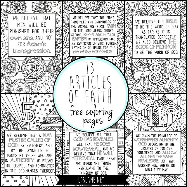 13 Articles Of Faith Coloring Pages By Lds Lane Free Coloring Pages