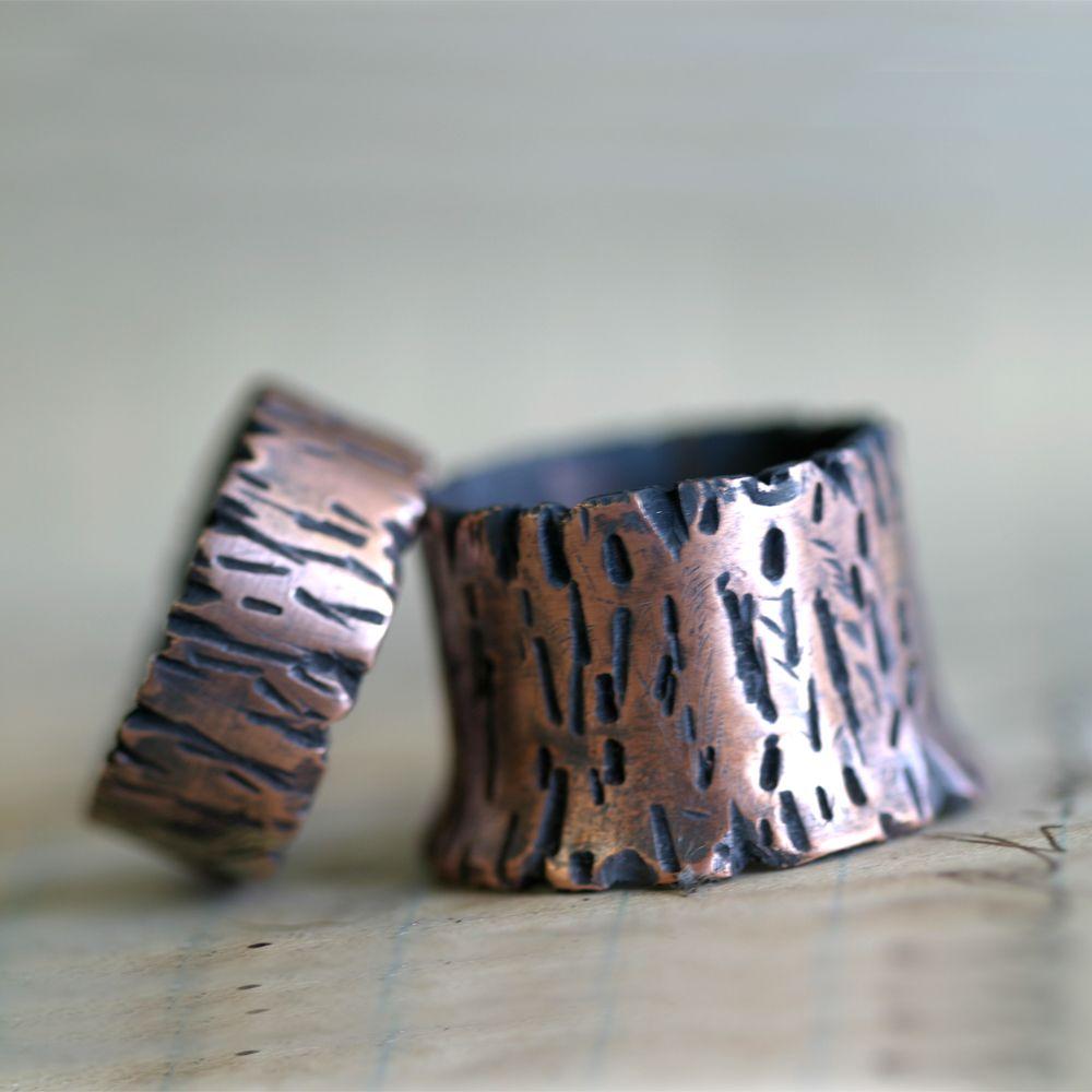 Tree Bark Copper Band Ring Redwood Tree S0264 Monkeys Always