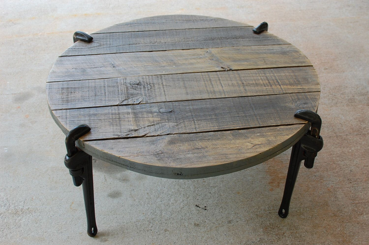 round industrial wood coffee table, reclaimed wood furniture, pipe