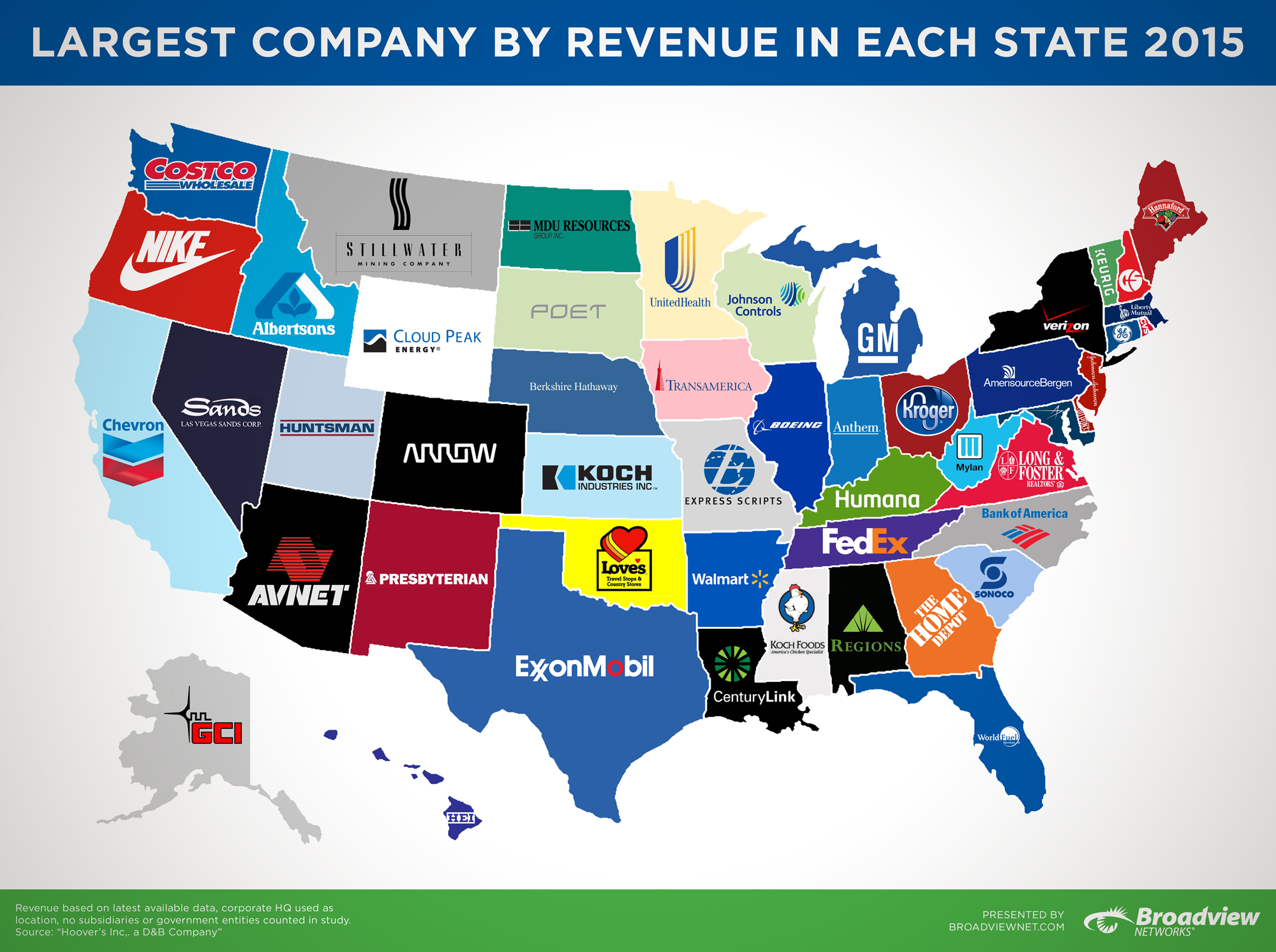 The Largest Companies By Revenue In Each State - Mental floss us map redrawn