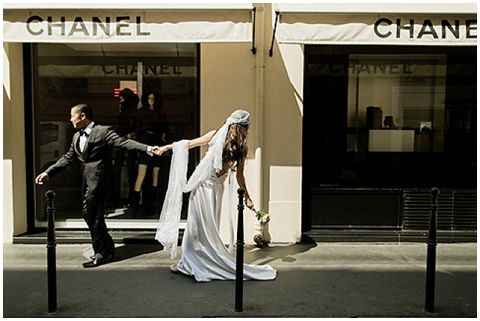 chanel bride  | © - Jacques Mateos of Magic Flight Studio via French Wedding Style