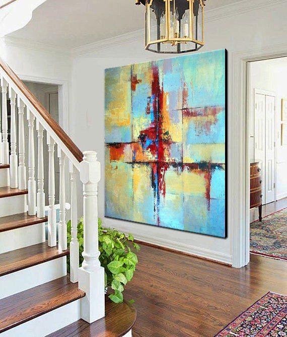 Ölgemälde große bunte Wand Kunst blau Malerei gelb Malerei Acryl-Malerei Original-Kunst auf Leinwand Wandmalerei für Wohnzimmer
