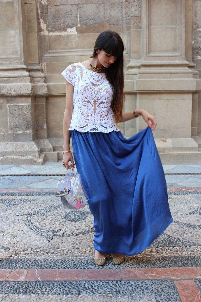 0e02a283d Looks con faldas largas azul klein - Trendtation | moda diversa ...
