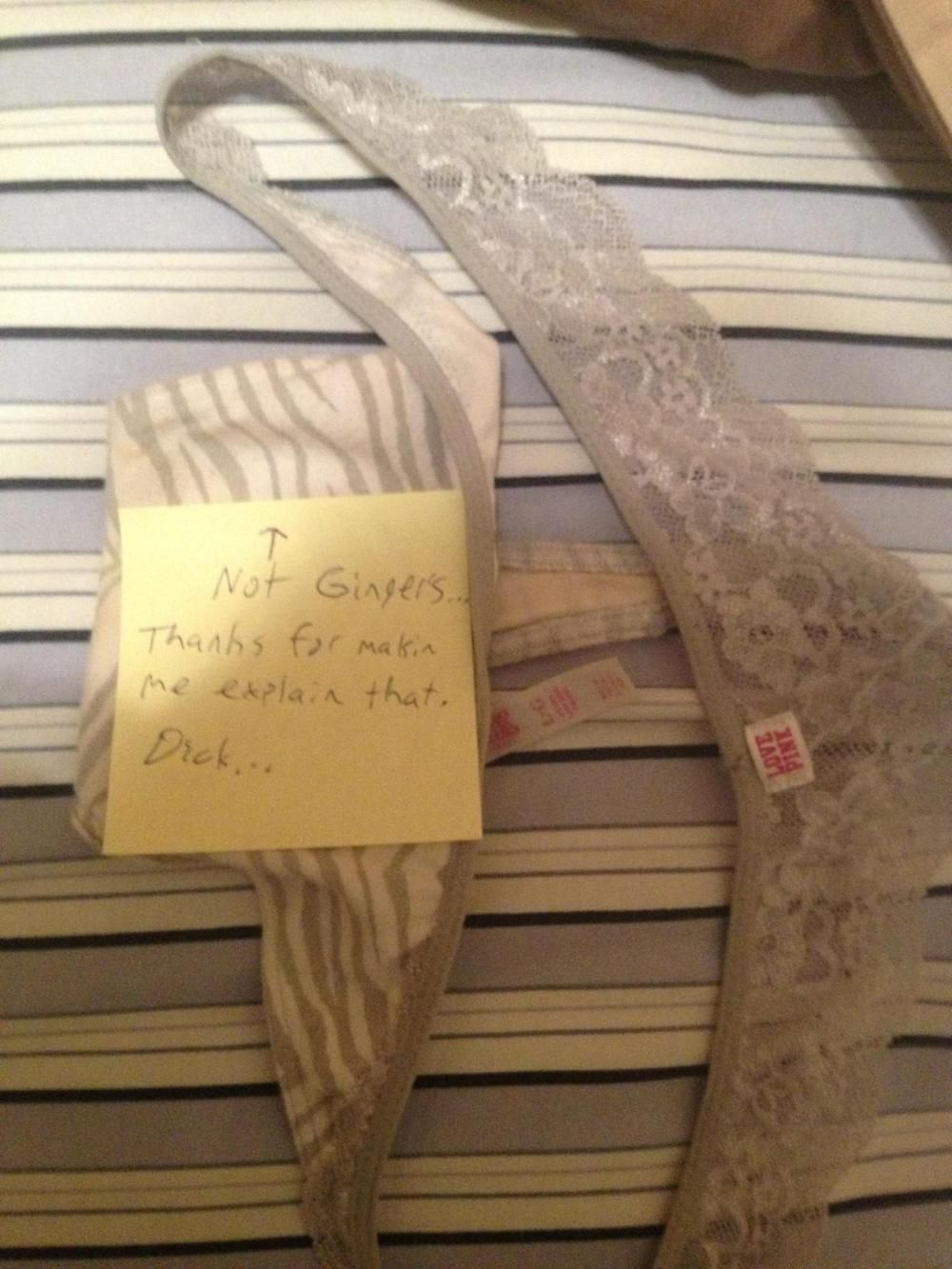 My BF lives with a couple & some times the laundry gets mixed up. He placed these in their room thinking they were the girlfriend's. Her boyfriend left this on his bed. They are mine... - Imgur