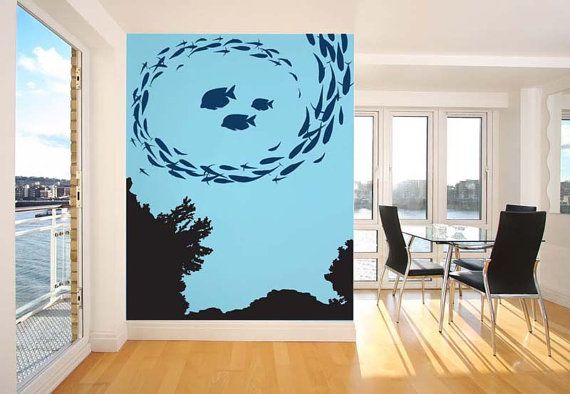 this would be cool for the ceiling Underwater coral reef fish school wall decal & Underwater Fish And Coral Wall Decal Wall Sticker | Captain Nemo ...