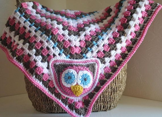 Owl Baby Blanket - Granny Rectangle Pink Brown