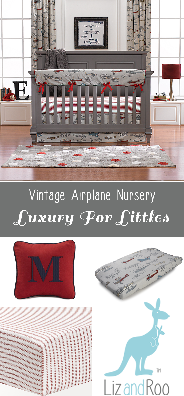 Vintage Airplanes Perless Crib Bedding