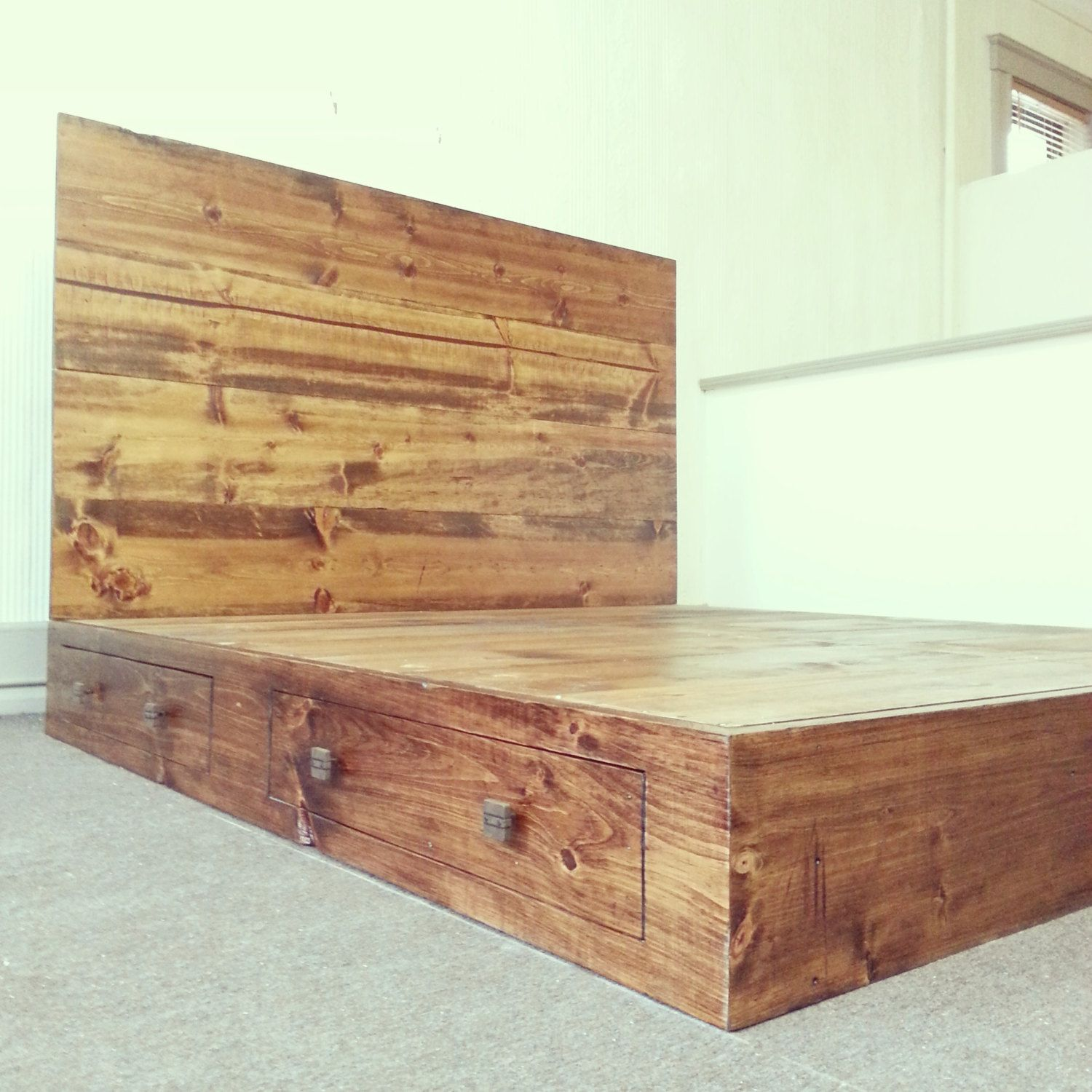 Rustic California King Size Platform Bed Frame With Storage Drawers