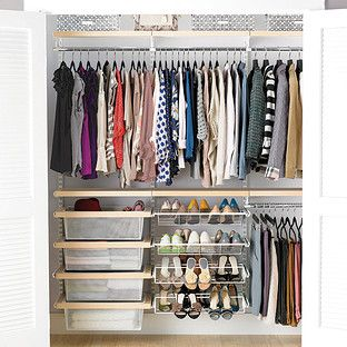 ReDesign | #kids Room | Birch U0026 White Elfa Décor Reach In Clothes Closet.  Container Store: $200.00 #sleepover #grandmashouse
