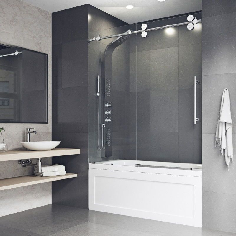 Modern Bathroom Design Idea With Tub Door With Its Classic Roller Sliding Door And Sleek Modern Design The Tub Tub Doors Modern Bathroom Remodel Shower Doors