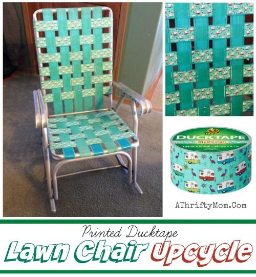 Lawn chair GLAMPER upcycle, use printed duct tape to personalize your chair and make it super cute, DIY, Camping, Fun Family reunion ideas