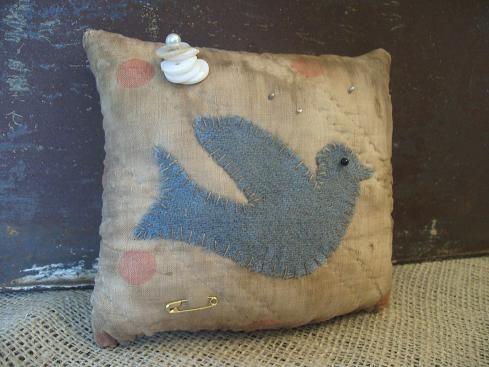 Bluebird pin cushion....