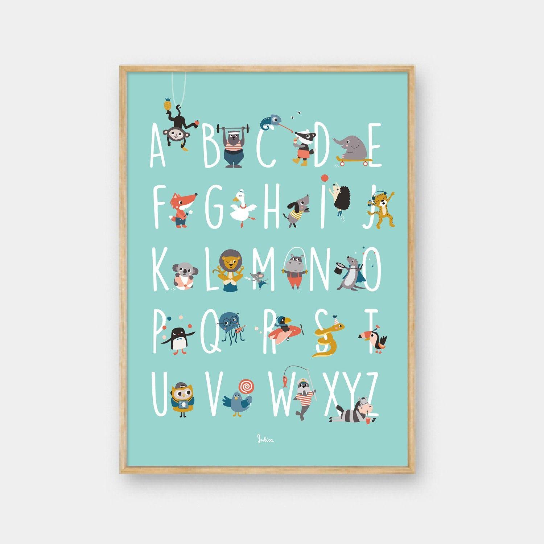 Julica Design julica-design abc poster - alphabet der tiere in 2018 | baby blue