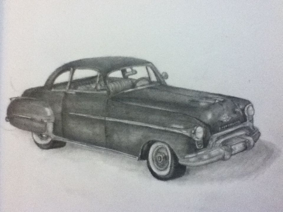 drawing of a 1950s Oldsmobile by Mikayla Koski