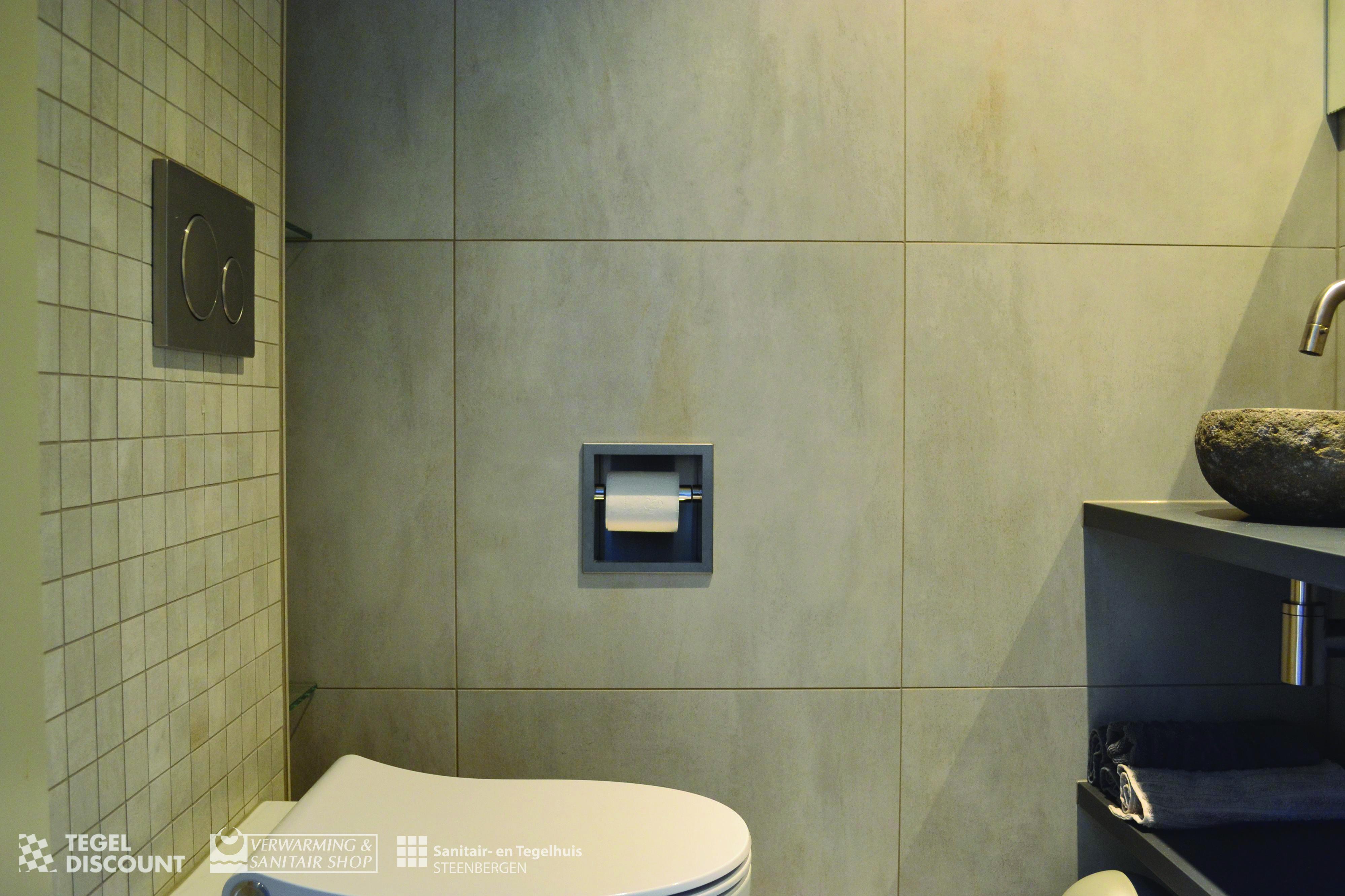 Inloopdouche Met Inbouwkraan : Toilet betonlook tegel mozaïek looox nis rvs inbouwkraan