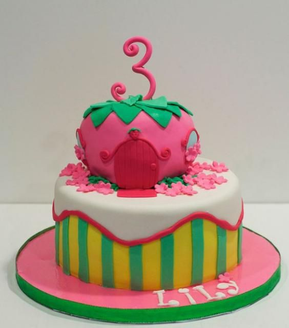 2 tier strawberry house cake for 3 year old girlJPG Cakes n