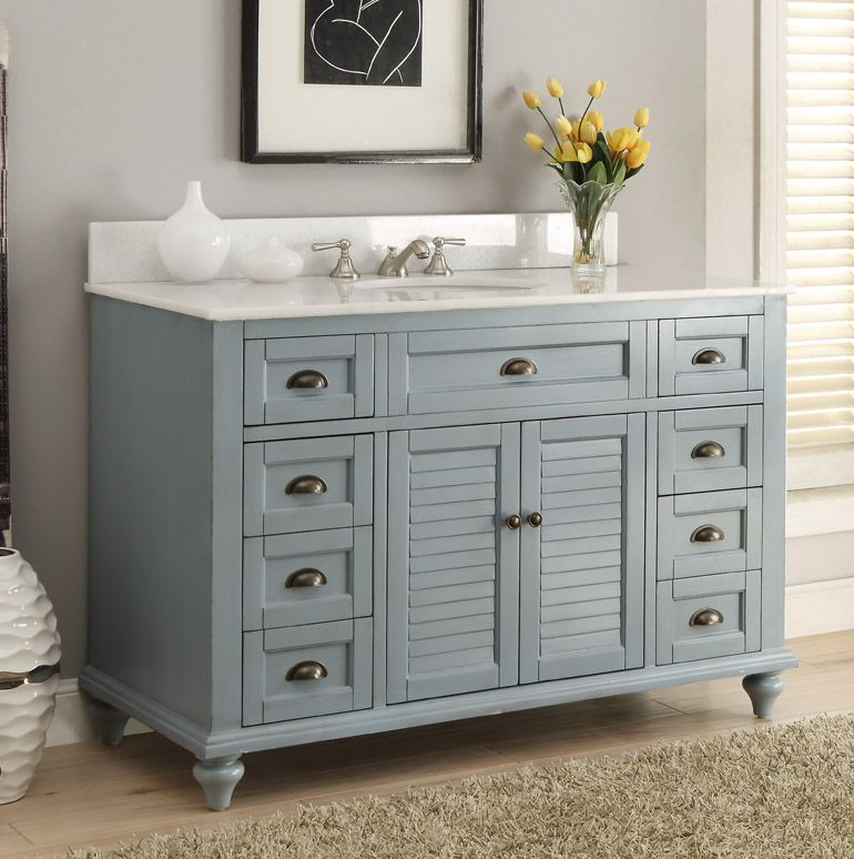 adelina 49 inch antique bathroom vanity blue finish sandy.this