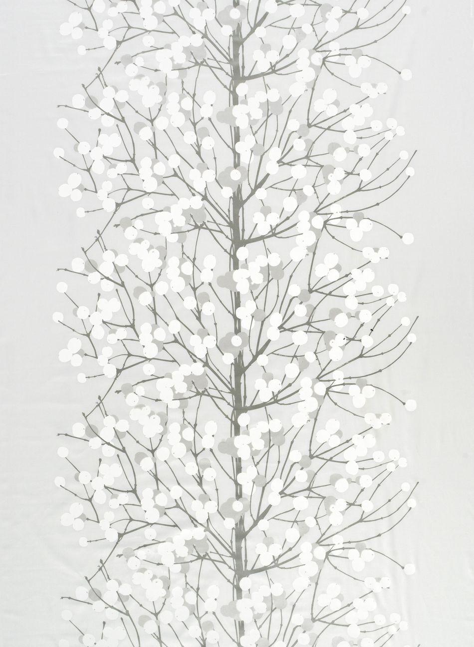 Lumimarja-puuvillasatiini (valkoinen,hopea,l.valkoinen), Marimekko.
