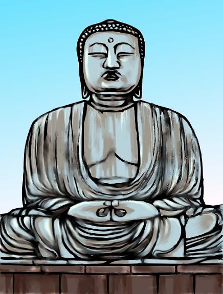 鎌倉の大仏 イラスト