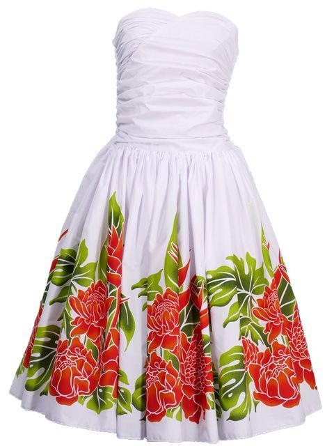 07f93530d665 Hula Midi Dress with Torch Ginger Print / White / G1958w | fashion ...