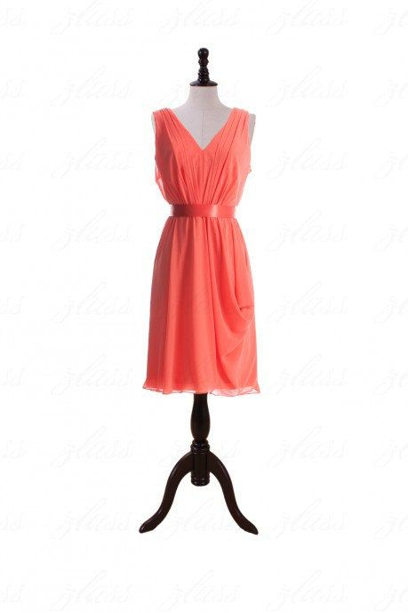 Free Shipping V-neck Coral Bridesmaid Dress Prom By