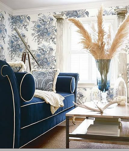 Navy Velvet White Piping Have Big Round Bolsters Made For Formal Couch Blue Living Room Navy Living Rooms Interior Design
