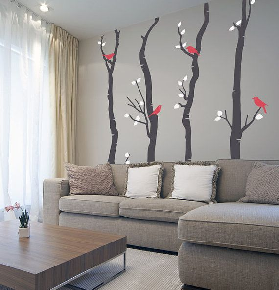 Cardinals Trees Flowers Wall Graphic 4x Many Sizes Available Vinyl Wall Sticker Decals Decor Customizabl