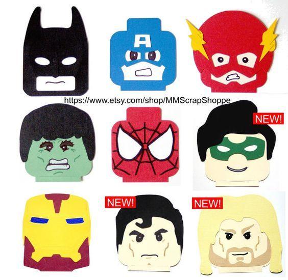 LEGO Superhero Head Party Decorations | Goody bags, Superhero and Legos