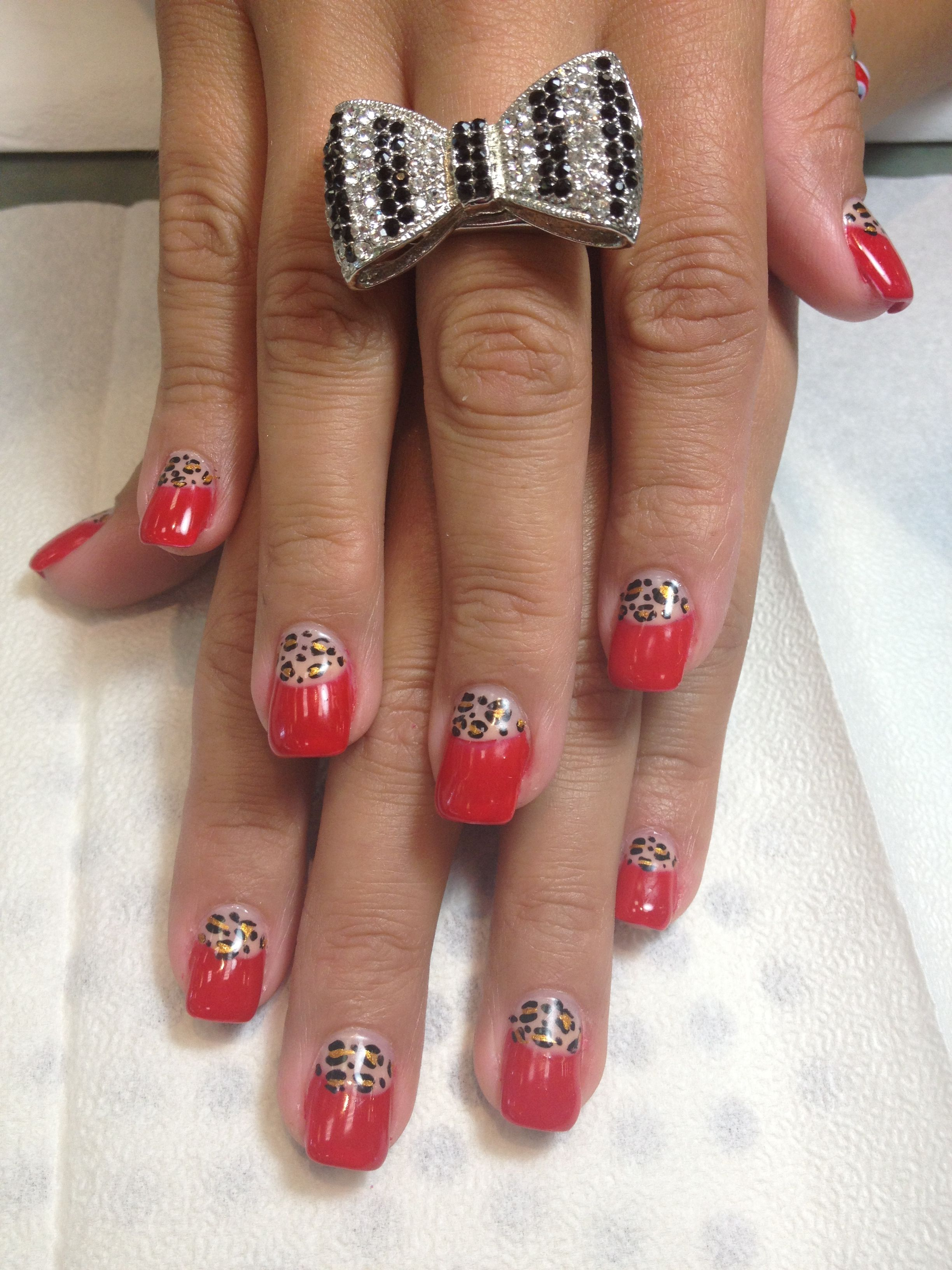 Red and leopard print Pinup/Rockabilly Nail Design. The leopard ...