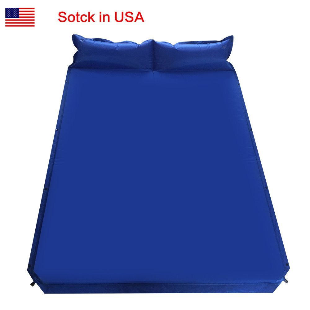 double outdoor self inflatable air mattress sleeping bed travel