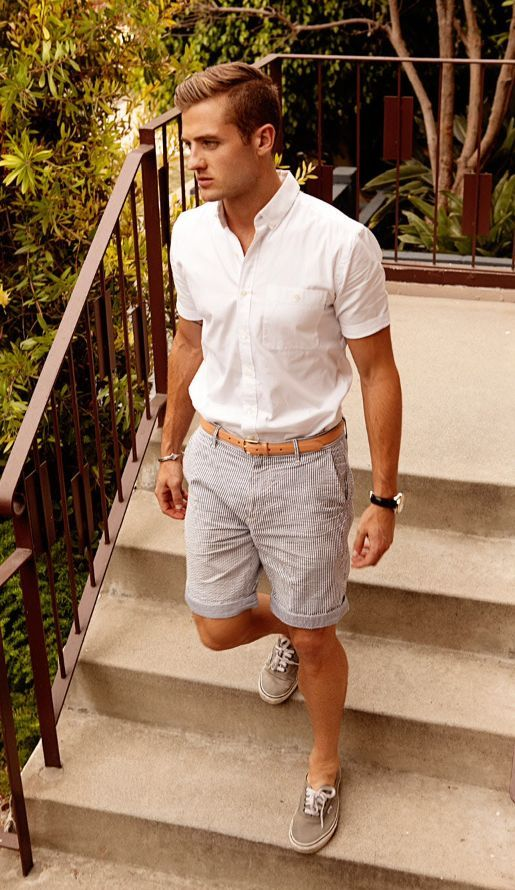 Men's Navy and White Polka Dot Short Sleeve Shirt, White Shorts ...