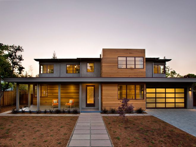 modern cedar horizontal wood siding home with dark