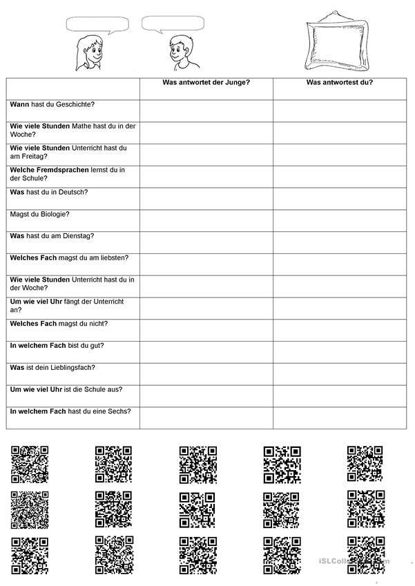 ICT im Unterricht: Schulfächer (Fragen und Antworten)   Alman ...