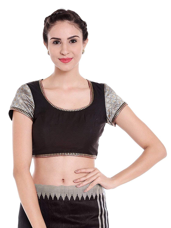 83d545c47c0 Arch Elements Black & Ash Grey Women Blouse Designer Blouse Readymade  Partywear, Banarasi Silk Blouse For Women: Amazon.in: Clothing & Accessories