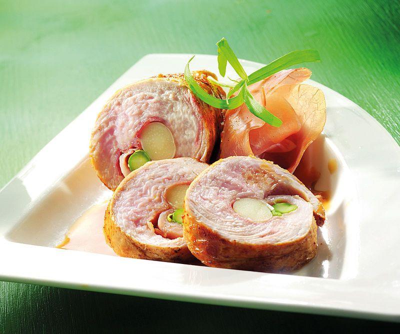 Rollitos de pollo con jamón y espárragos - Monsieur Cuisine